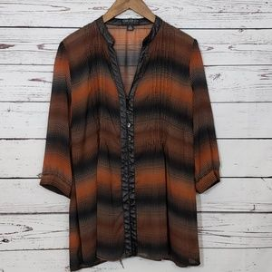 Forever 21 Plus Faux Leather Trim Tunic Top XL